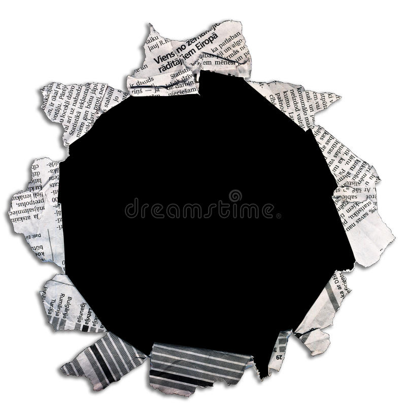 Trou noir en journal. photo stock