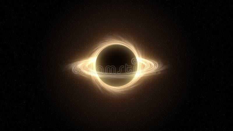 Trou noir massif superbe dans l'espace extra-atmosph?rique, trou noir de simulation d'infographie illustration libre de droits