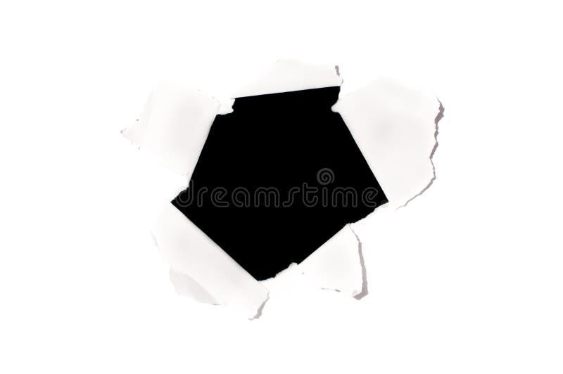 Trou noir sur le livre blanc photographie stock