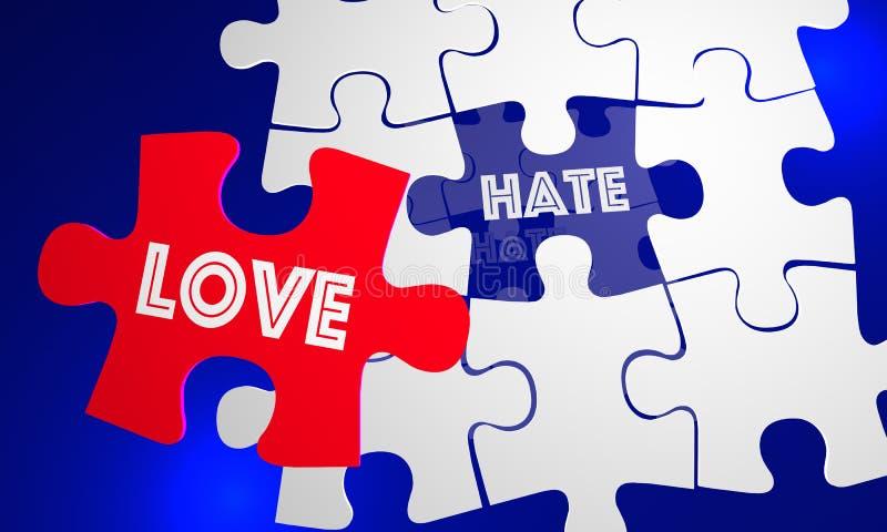 Trou remplissant de morceau de puzzle de haine de battements d'amour illustration libre de droits