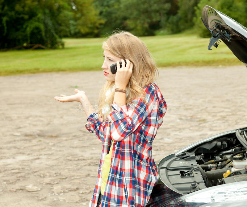 Download Trouble With The Car Engine, Girl Phoning To Hep Stock Photo - Image: 21794030