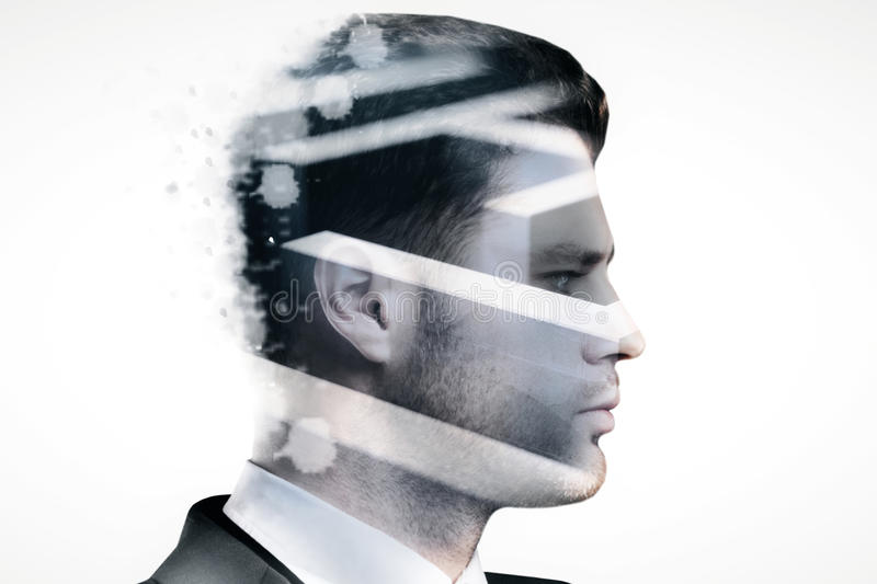 Trouble concept. Side view of young businessman and maze on light background. Trouble concept. Double exposure royalty free stock photography