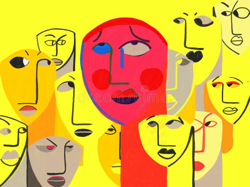 Trouble d'anxiété de phobie sociale, TRISTE illustration libre de droits