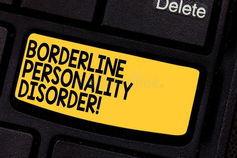 Trouble de la personnalité limite des textes d'écriture Trouble mental de signification de concept marqué par clé de clavier inst illustration stock