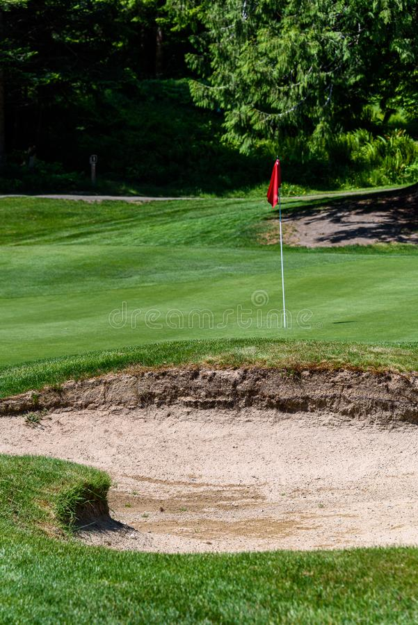 Trouble on the golf course, sand trap protecting a golf green with trees in the background, includes pin with red flag and golf ca. Rt path stock photos