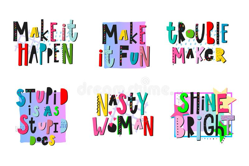Download Trouble Maker Shirt Quote Lettering Set Stock Vector