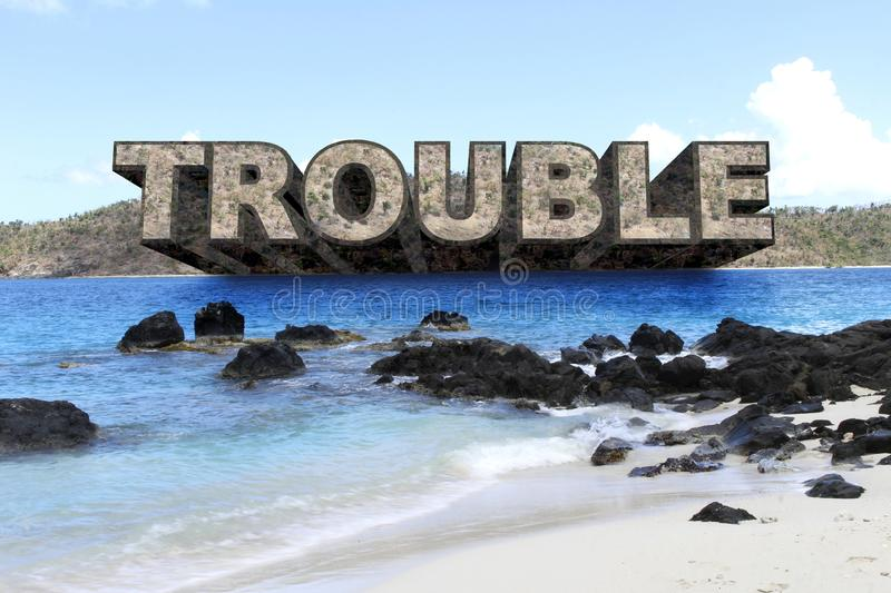 TROUBLE in PARADISE - Large Text Protrudes from Island stock photos