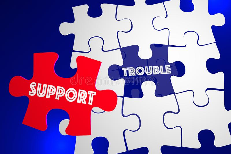 Trouble Problem Issue Solved Customer Support Service Puzzle 3d. Illustration vector illustration