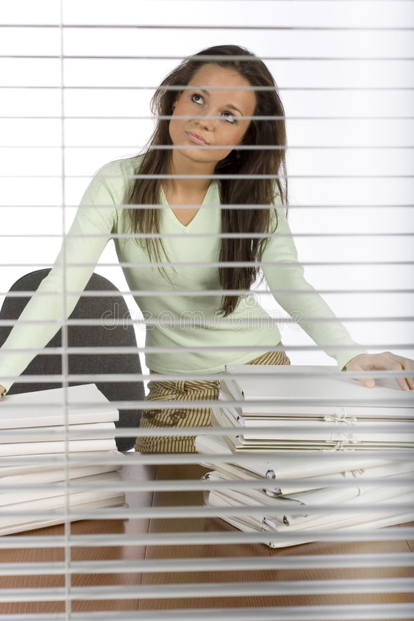 Trouble woman in the office stock photography