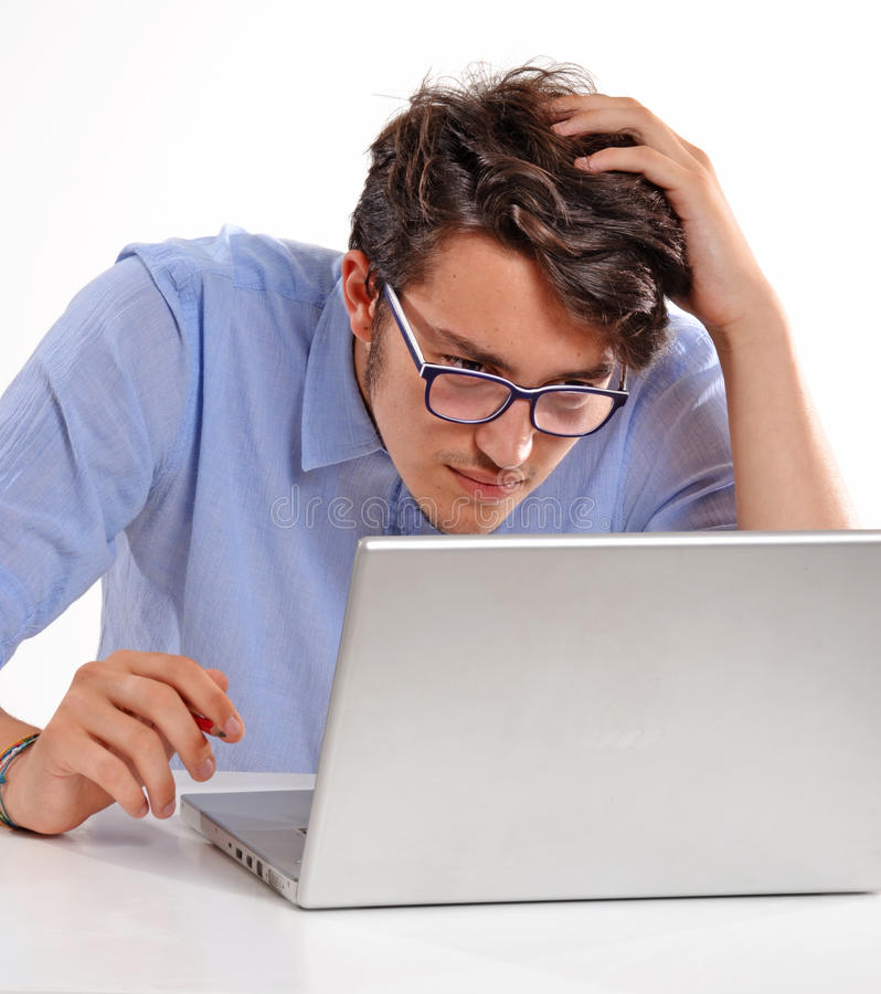 Trouble work. Worry businessman working on computer laptop stock photos