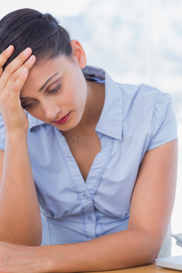 Download Troubled businesswoman stock image. Image of female, hand - 31668587
