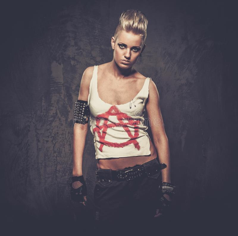 Troubled teenager punk girl stock photo