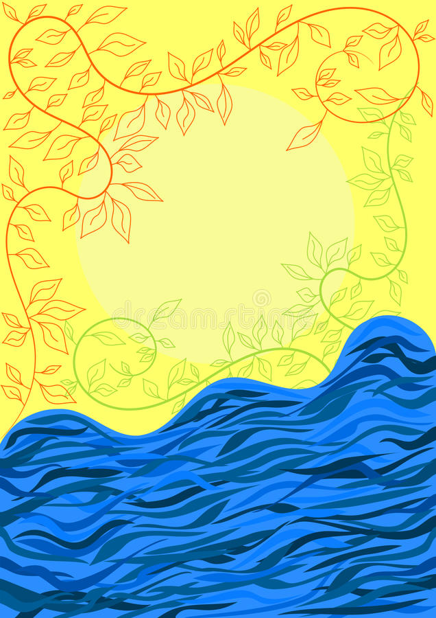 Troubled waters river greeting card. Troubled waters river with leaves and Sun. Space to write text inside the Sun vector illustration
