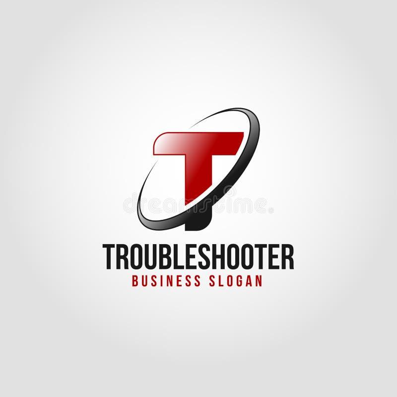Troubleshooter - Listowy T logo szablon ilustracja wektor