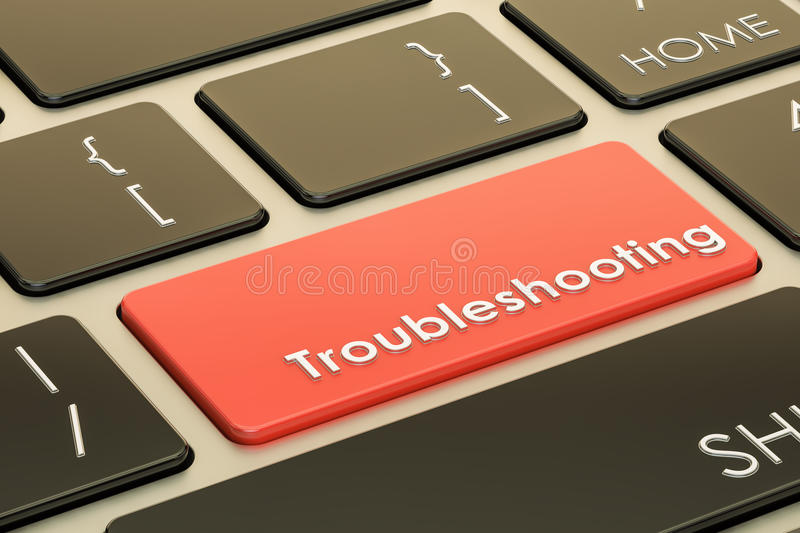 Troubleshooting concept, red hot key on keyboard. 3D rendering stock illustration
