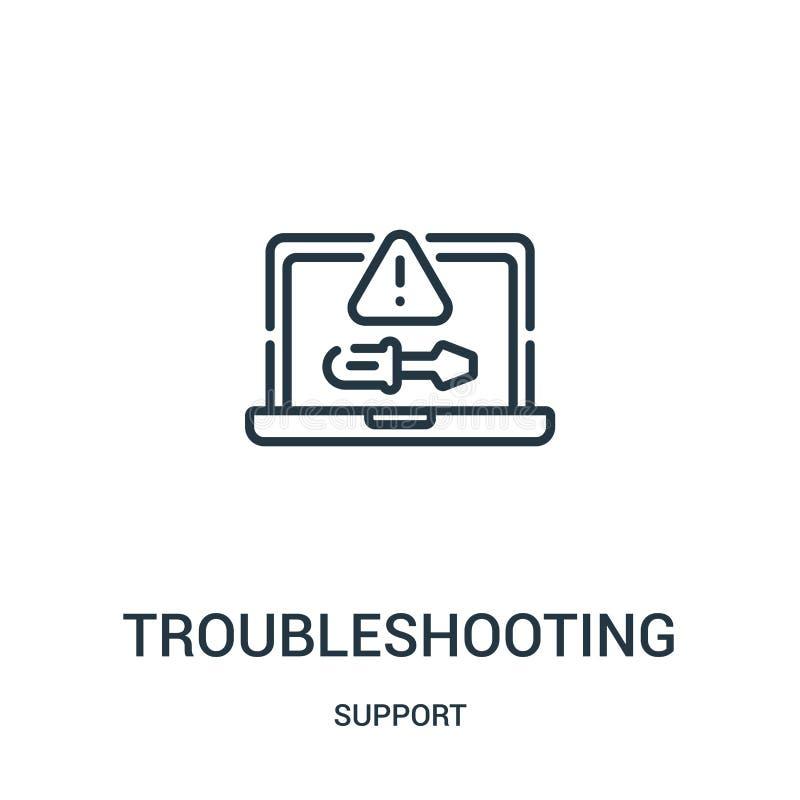 troubleshooting ikony wektor od poparcie kolekcji Cienka kreskowa troubleshooting konturu ikony wektoru ilustracja Liniowy symbol ilustracja wektor