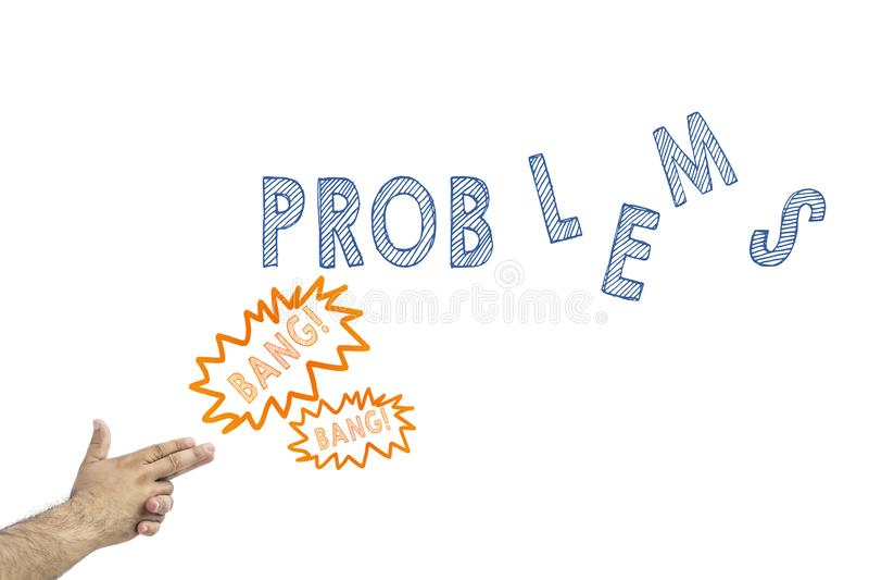 Troubleshooting pojęcie Obsługuje robić armatniemu gestowi i strzelaninie wpisowi problemy obrazy stock