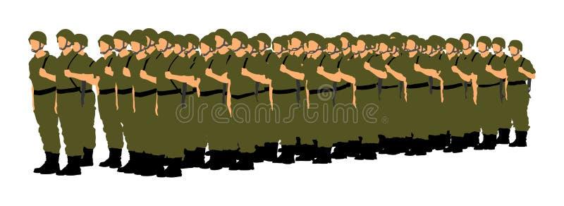 Troupe de formation de soldats, ` de salutation s de soldat d'armée illustration de vecteur