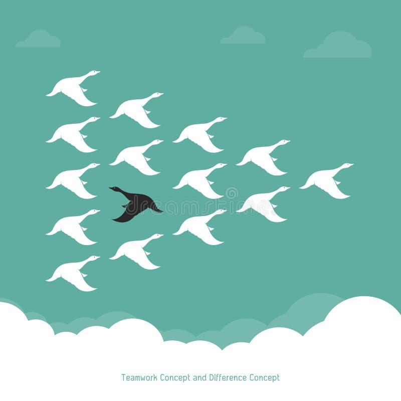 Troupeau d'un vol de canard dans le ciel illustration de vecteur