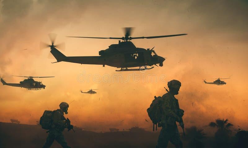 Troupes militaires et d'hélicoptère sur le chemin image libre de droits