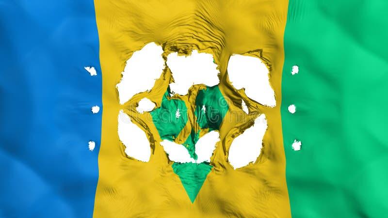 Trous dans le drapeau de Saint Vincent et de grenadines illustration stock