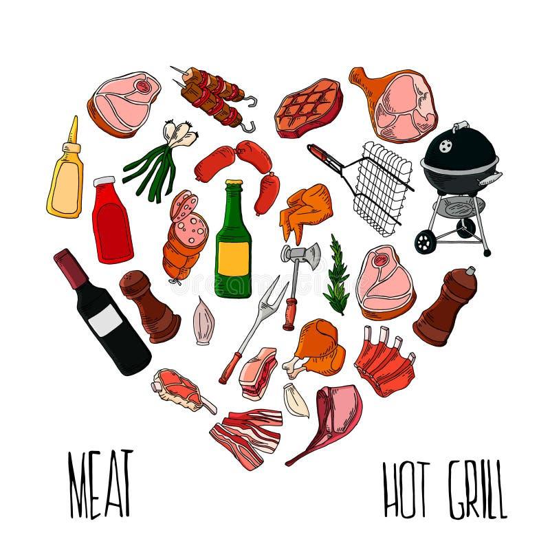 Trousse d'outils de BBQ ?l?ments d'isolement par gril de barbecue Style plat, illustration de vecteur illustration stock