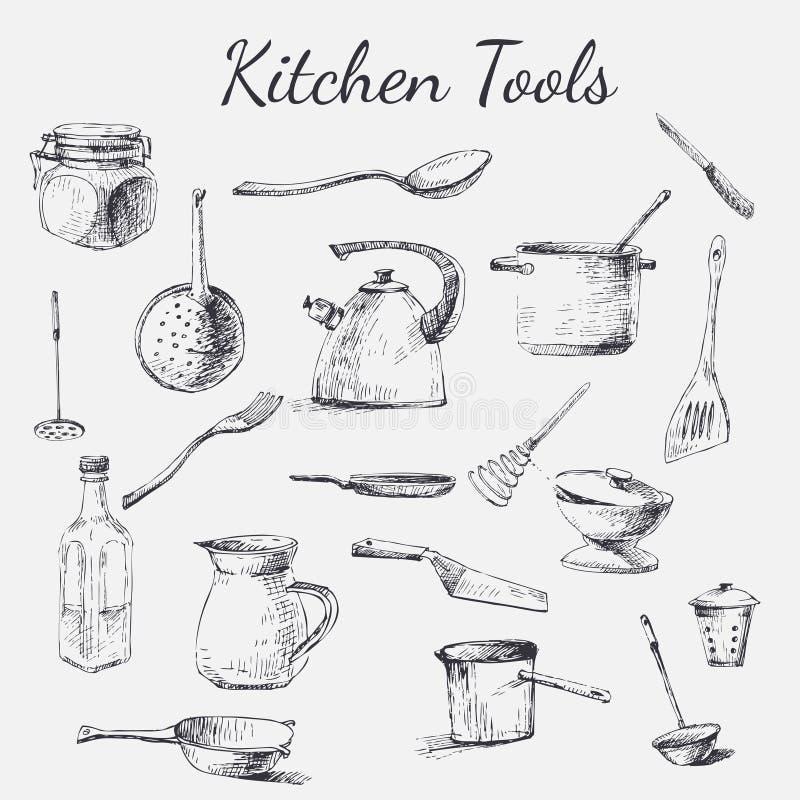 trousse d 39 outils de cuisine illustration de vecteur. Black Bedroom Furniture Sets. Home Design Ideas