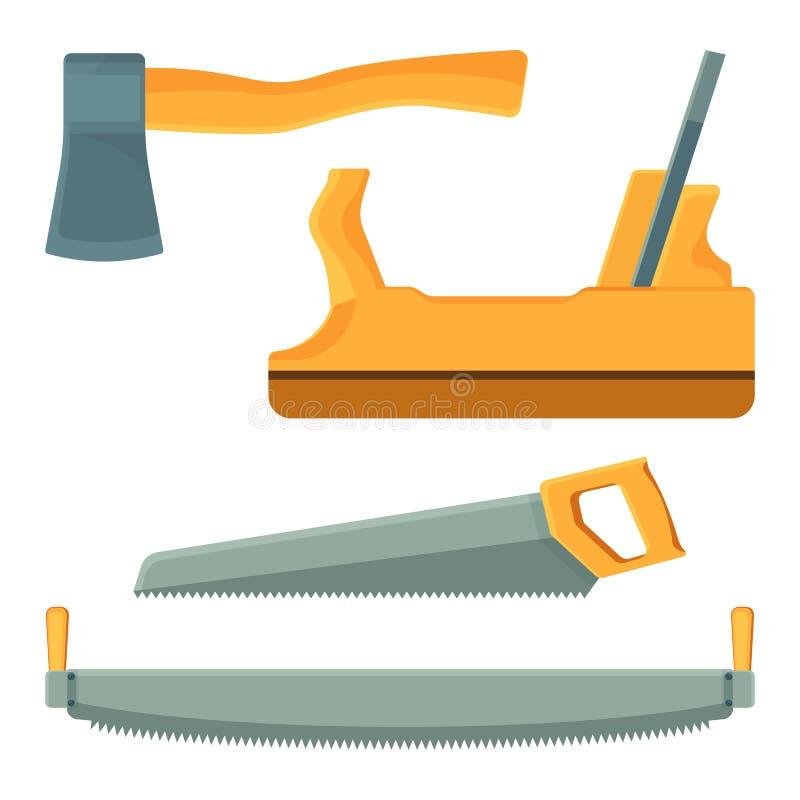 Trousse d'outils de déboisement des icônes sur l'illustration de vecteur illustration stock