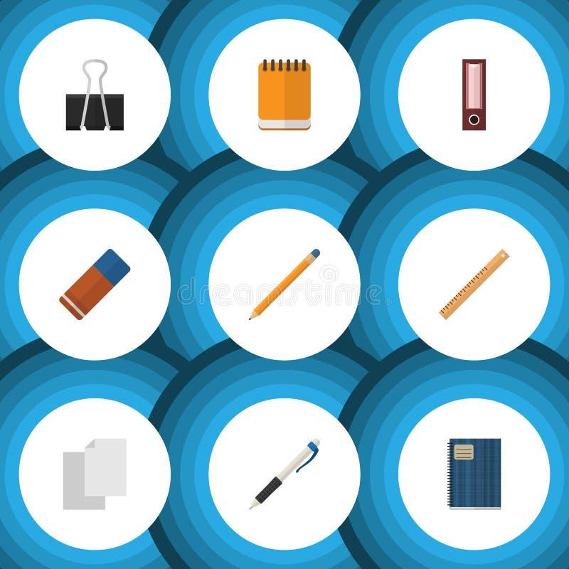 Trousse d'outils plate d'icône du papier à lettres, de l'outil de dessin, du crayon et d'autres objets de vecteur Inclut égalemen illustration de vecteur