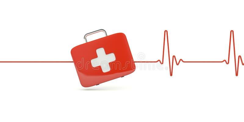 Trousse de secours avec le battement de coeur illustration stock