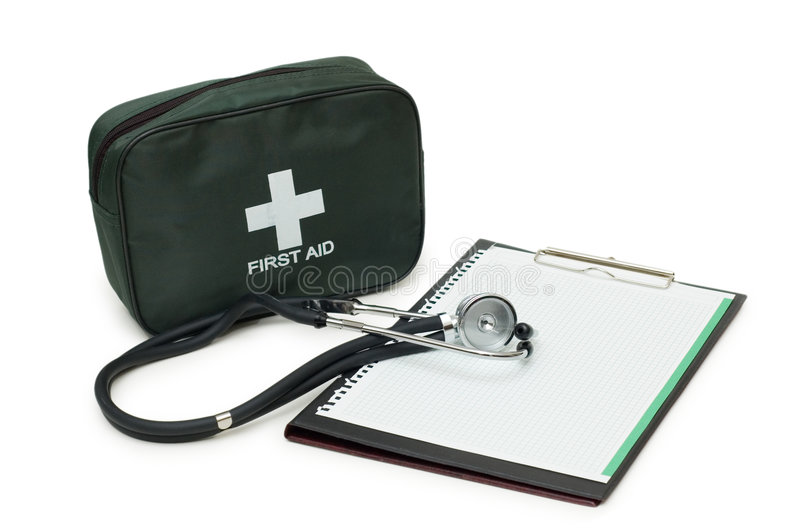 Trousse de secours, stéthoscope et garniture photo stock