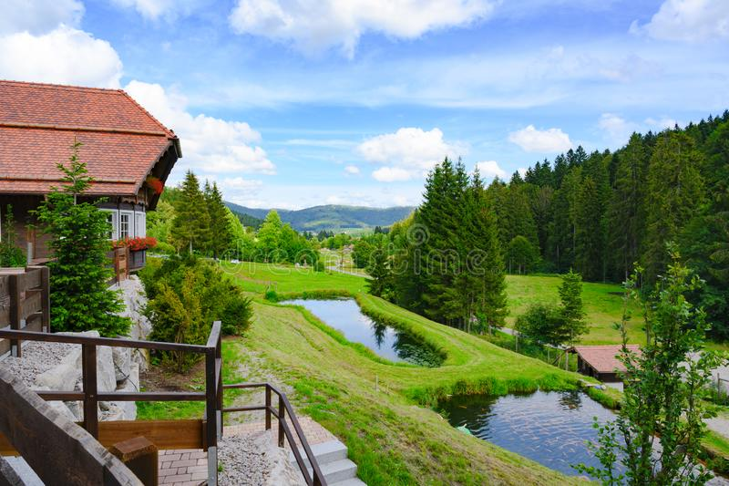 View over trout ponds to valley and fir covered mountains in Black Forest, Germany. Visibility on clear day with blue sky. royalty free stock photos
