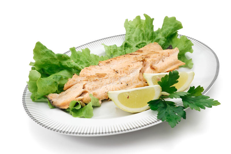 Trout Fillet With Lettuce And Lemon Stock Images