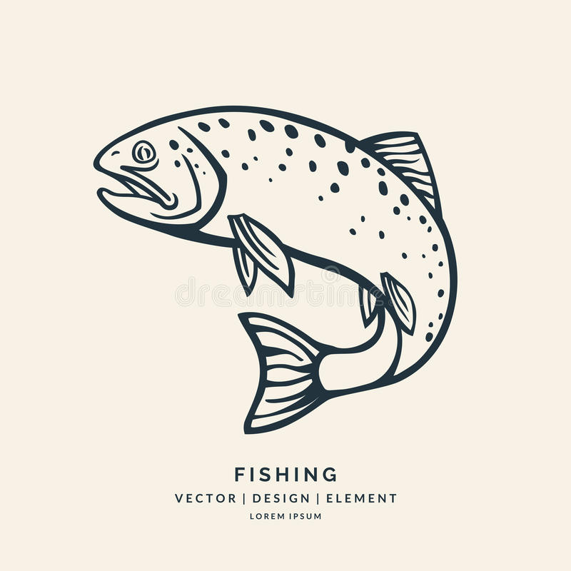 Trout fish jumping out of the water. Black and white silhouette tattoo in the background vector illustration