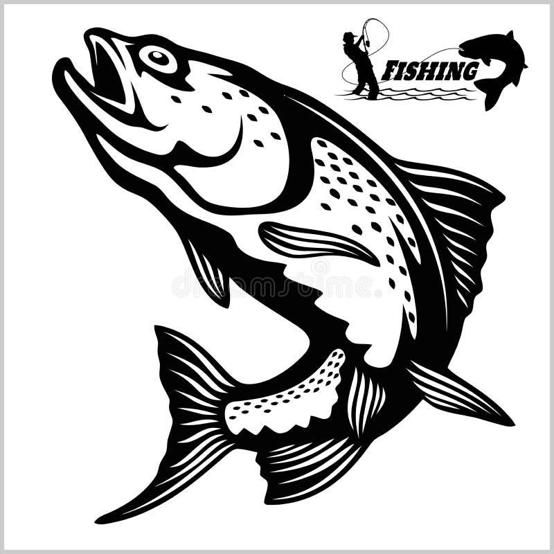Trout fish - logo illustration. Fishing emblem. Badge and design elements royalty free illustration