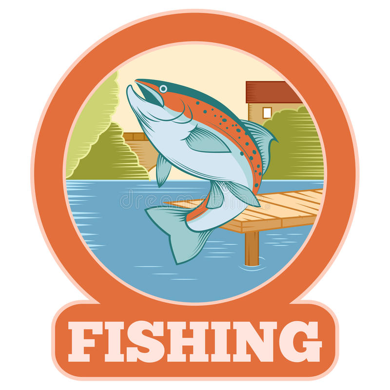 Trout fishing banner. Vector image of a colourful line trout banner stock illustration