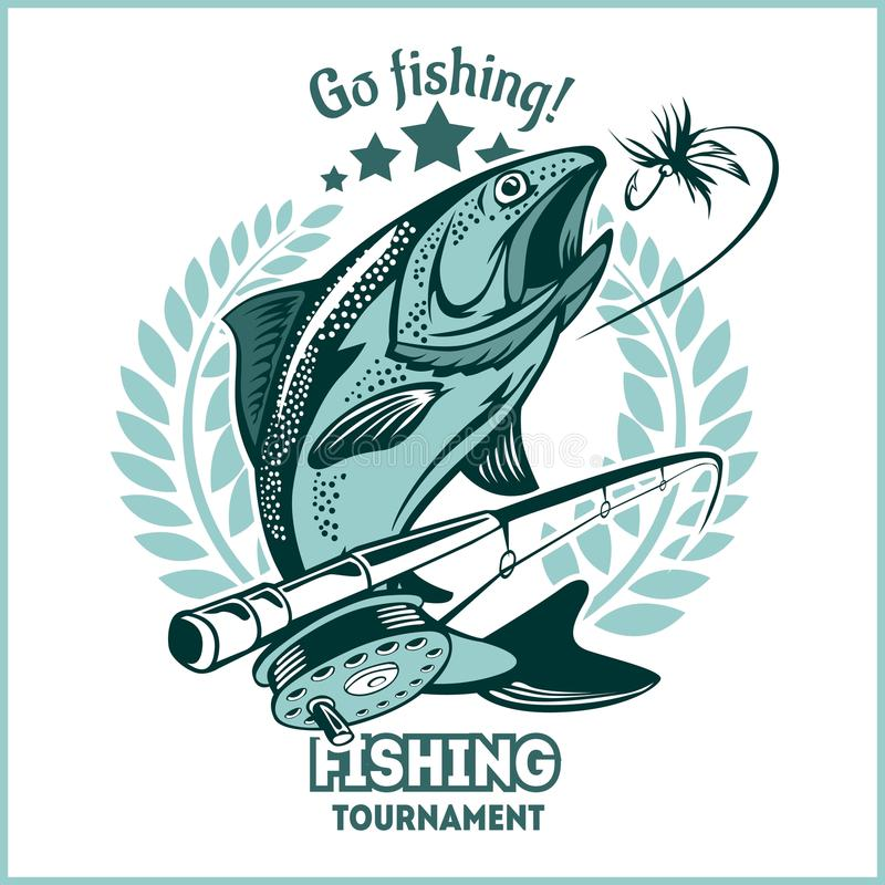 Trout fishing - logo illustration. Fishing emblem. Badge and design elements stock illustration