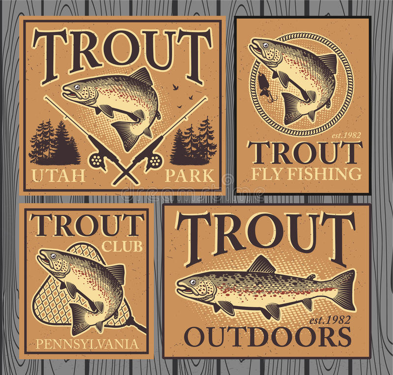 Trout fishing. Vintage trout fishing emblems, labels and design elements royalty free illustration