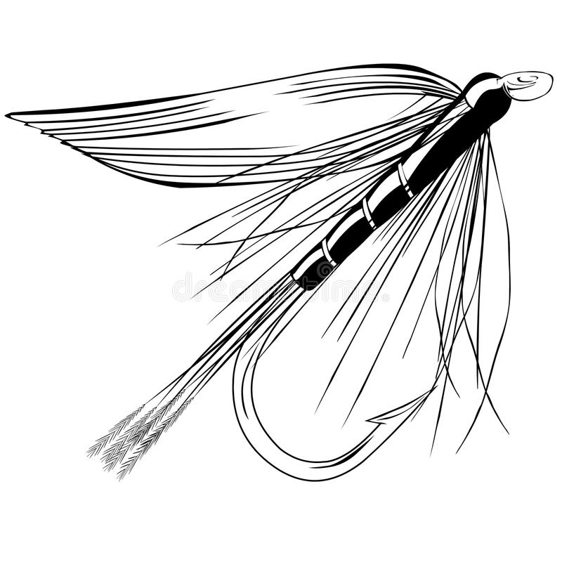 Trout fly Vector Illustration. Dry Fly Trout fly Fishing flies vector illustration