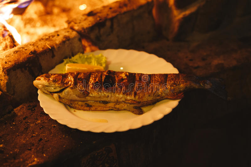 Download Trout Fried On The Brazier Lies On A Plate Near Fireplace Stock Photo - Image: 83714010