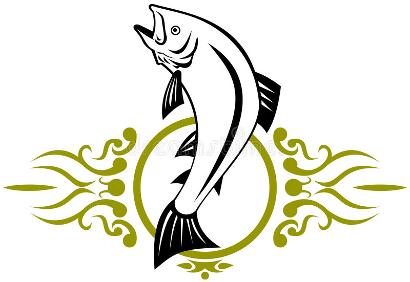 Trout jumping. Vector art of a trout on white background vector illustration