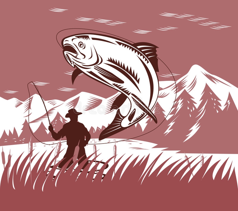 Trout jumping vector illustration