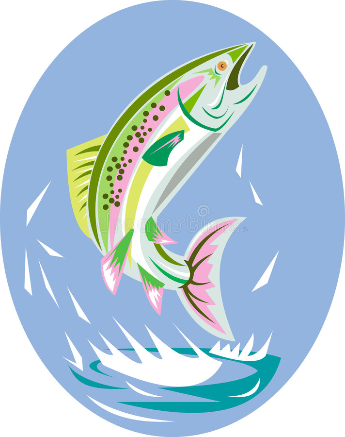 Trout jumping. Vector illustration on wildlife showing a trout leaping stock illustration