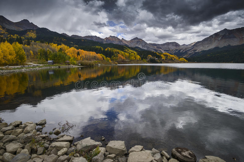 Trout Lake in Fall Color. San Juan Mountains, Colorado, USA royalty free stock photos