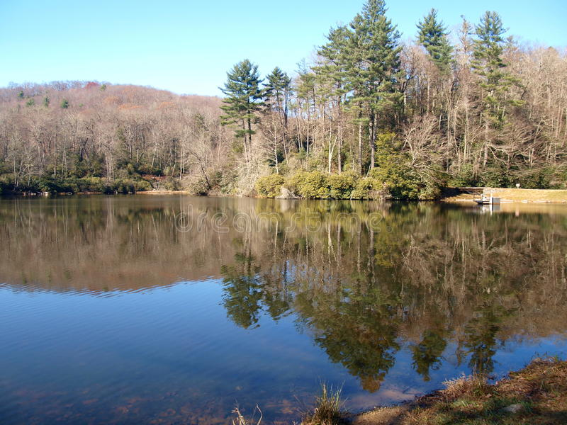 Trout Lake. A hiking trail at Moses Cone Memorial Park near Blowing Rock, North Carolina leads to small, but scenic, Trout Lake royalty free stock photo