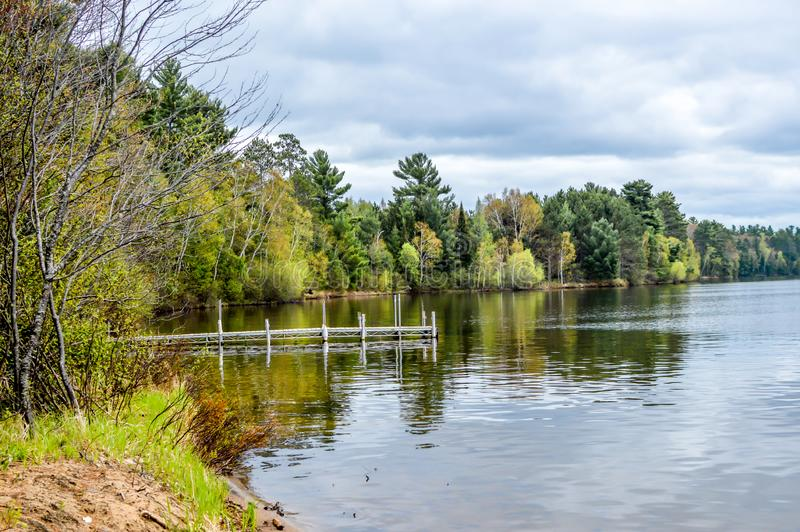 Trout Lake, Villas County, Wisconsin. Trout Lake is one of the largest lakes in Vilas County, Wisconsin. Near the towns of Boulder Junction and Arbor Vitae royalty free stock images
