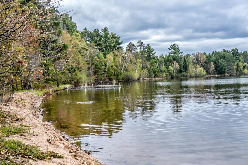 Trout Lake, Villas County, Wisconsin. Trout Lake is one of the largest lakes in Vilas County, Wisconsin. Near the towns of Boulder Junction and Arbor Vitae stock photography