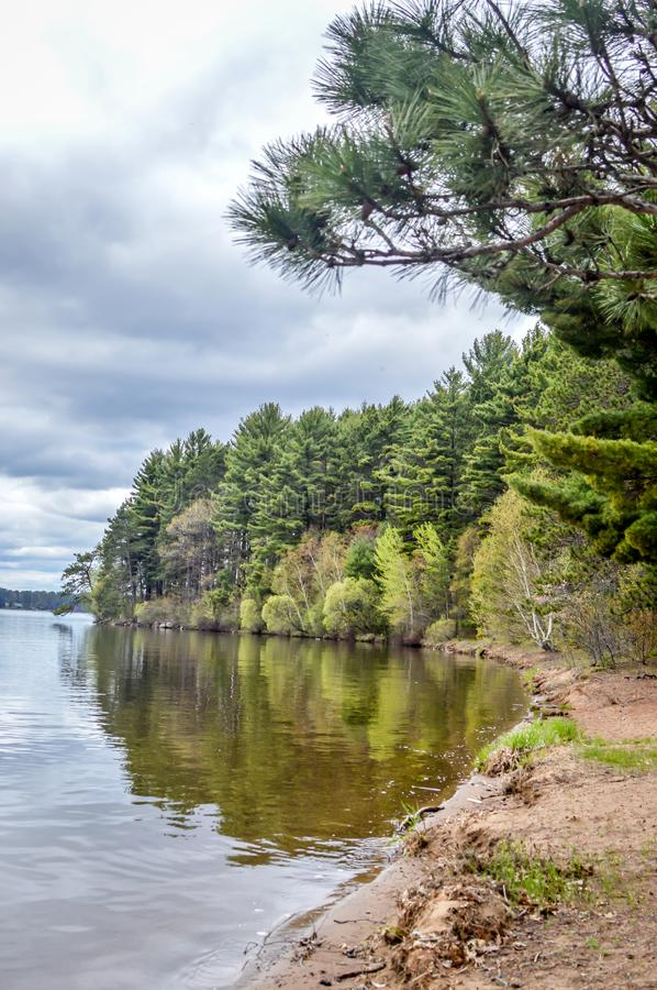 Trout Lake, Villas County, Wisconsin. Trout Lake is one of the largest lakes in Vilas County, Wisconsin. Near the towns of Boulder Junction and Arbor Vitae stock images