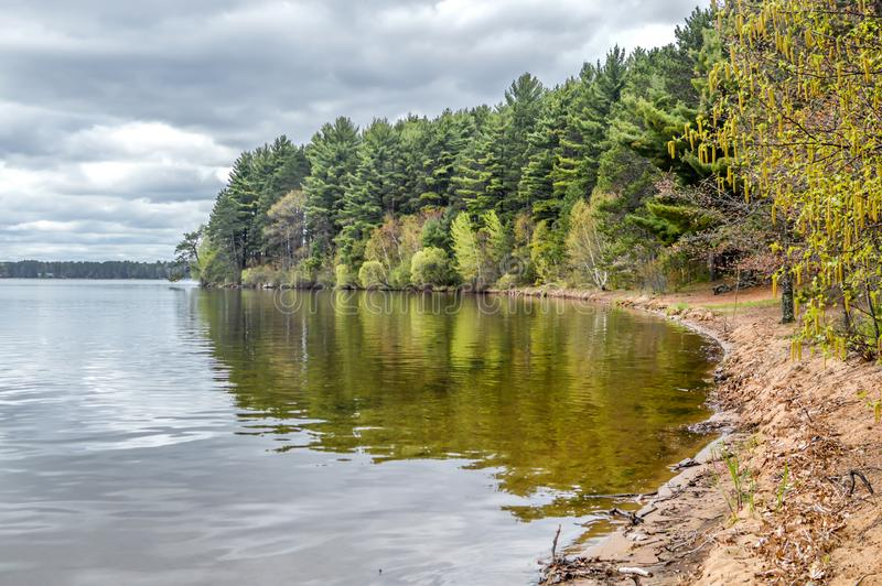 Trout Lake, Villas County, Wisconsin. Trout Lake is one of the largest lakes in Vilas County, Wisconsin. Near the towns of Boulder Junction and Arbor Vitae royalty free stock photography
