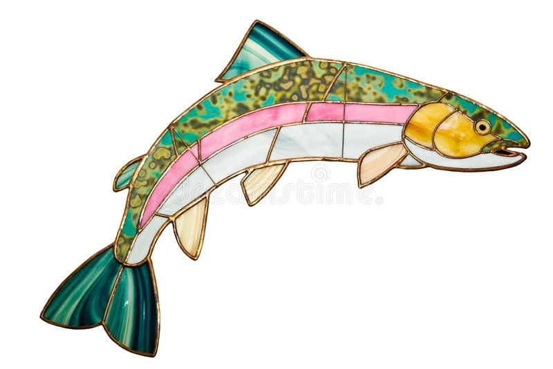 Trout Made of Stained Glass. A decorative (Rainbow Trout) fish made of stained glass, isolated stock photography